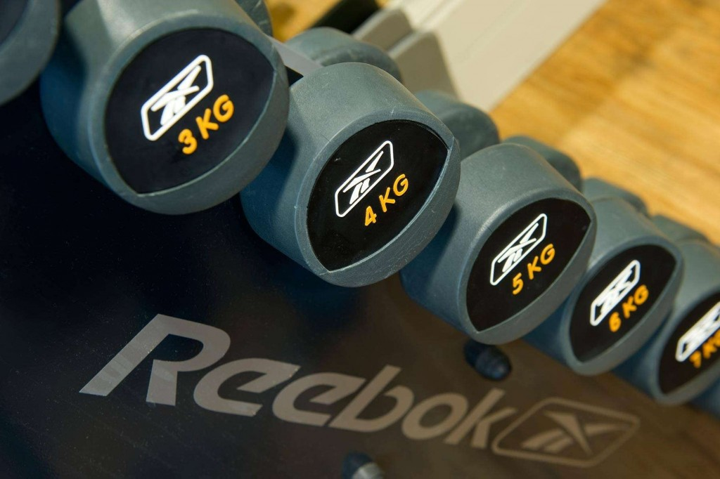 Dumbbells in the Duchally Country Estate fitness centre