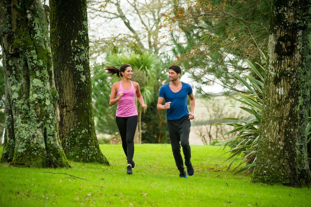 Guests enjoying a run through the grounds at Trenython Manor