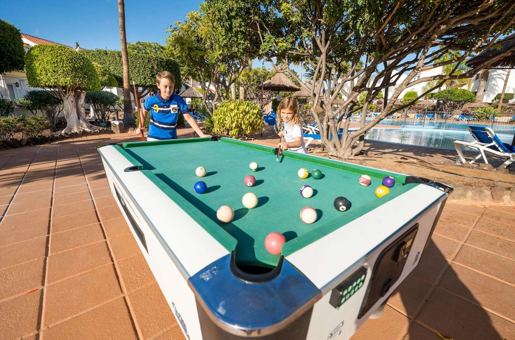 Younger guests enjoying a friendly game of pool