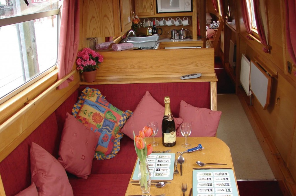 Charming snug interiors of the CLC canal boat