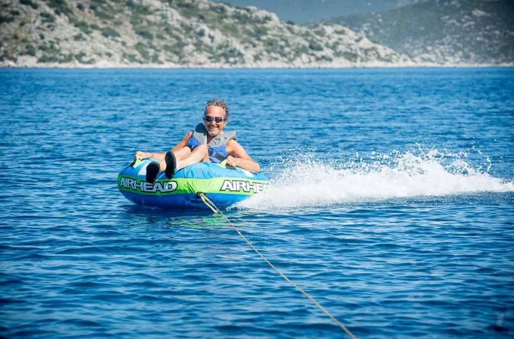 Guest having fun doing water sports