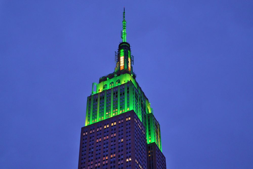 Empire State Building on St Patrick's Day