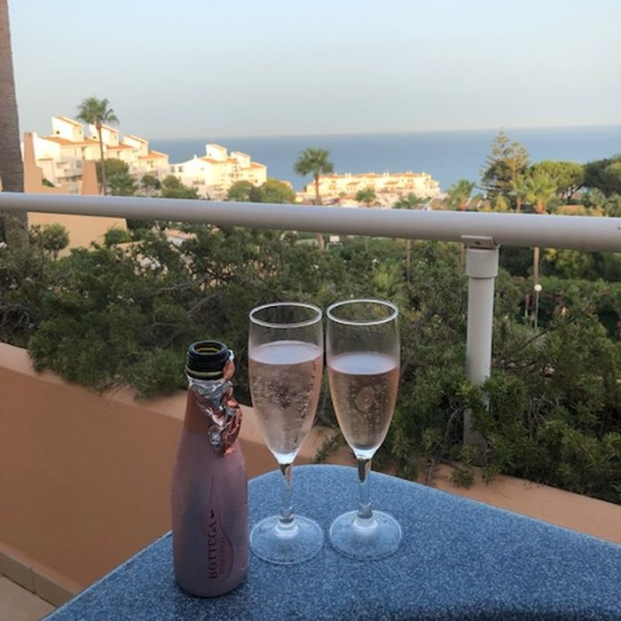 View from balcony with champagne glasses